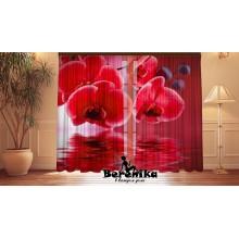 Фотошторы Красные орхидеи