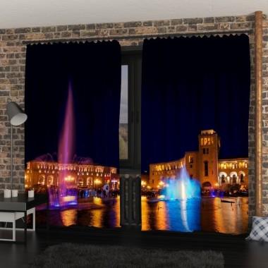 Фото Штори Нічний фонтан