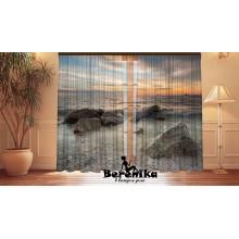 Фотошторы Закат над морскими камнями