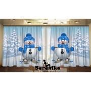 Фотошторы Снеговики на прогулке