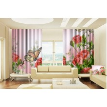 Фотошторы Бабочка на розе