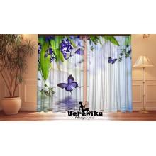 Фотошторы Бабочки и белые тюльпаны