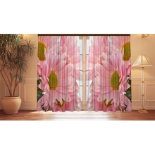 Фотошторы Персиковые хризантемы
