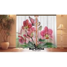 Фотошторы Персиковые орхидеи и бабочки