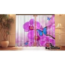 Фотошторы Синие бабочки на орхидеях