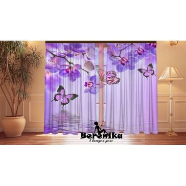 Фотошторы Сиреневые орхидеи и бабочки