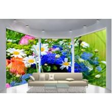 Фотошторы для эркера Букет цветов