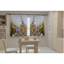 Фотошторы Бабочки в кухне
