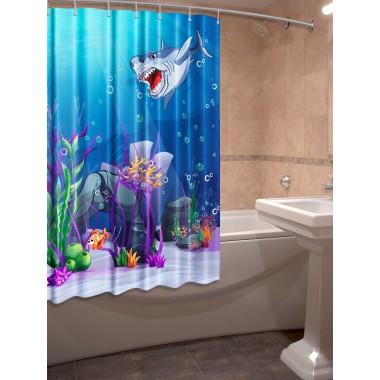 Шторки для ванной c фотопринтом Акула