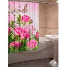 Шторки для ванной c фотопринтом Бабочки и розы
