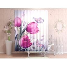 Шторки для ванной c фотопринтом Бабочки и тюльпаны