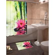 Шторки для ванной c фотопринтом Бамбук и лотос