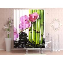 Шторки для ванной c фотопринтом Бамбук и орхидеи