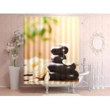 Шторки для ванной c фотопринтом Камни и орхидеи