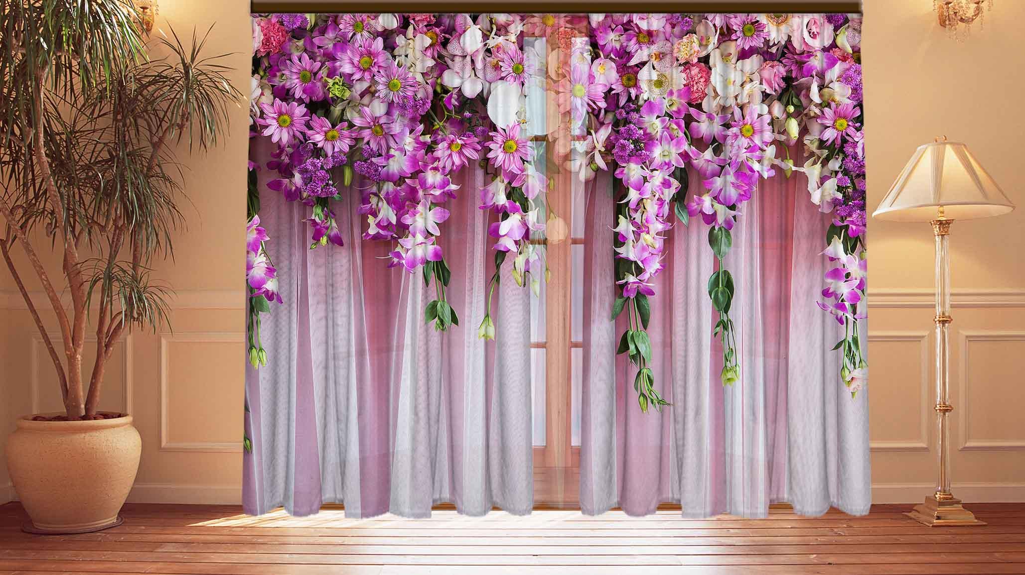Шторы с цветами на ламбрекене фото